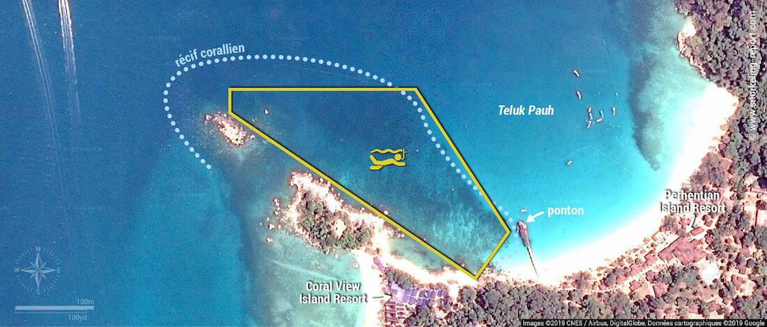 Carte snorkeling à Teluk Pauh, Perhentian Besar