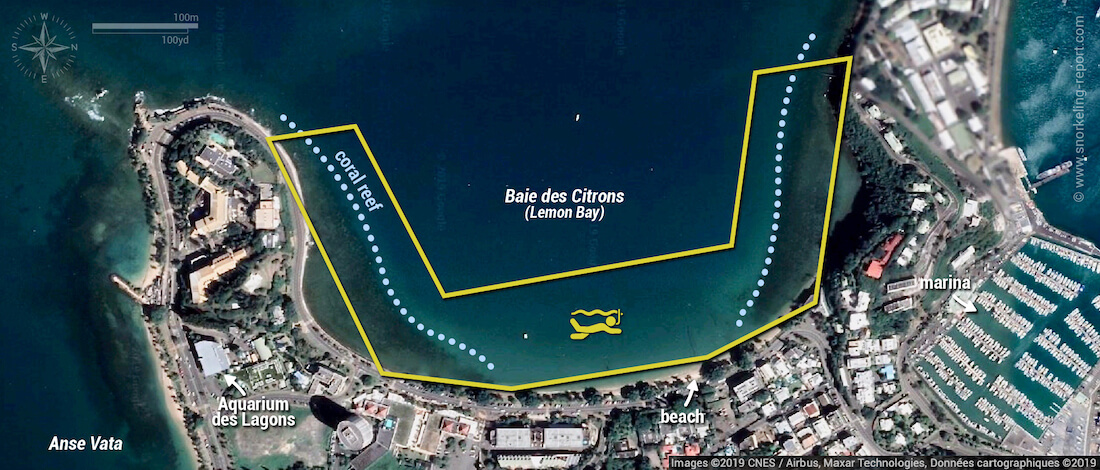 Baie des Citrons snorkeling map, New Caledonia