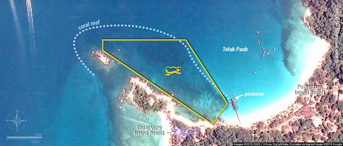 Teluk Pauh snorkeling map, Perhentian Besar