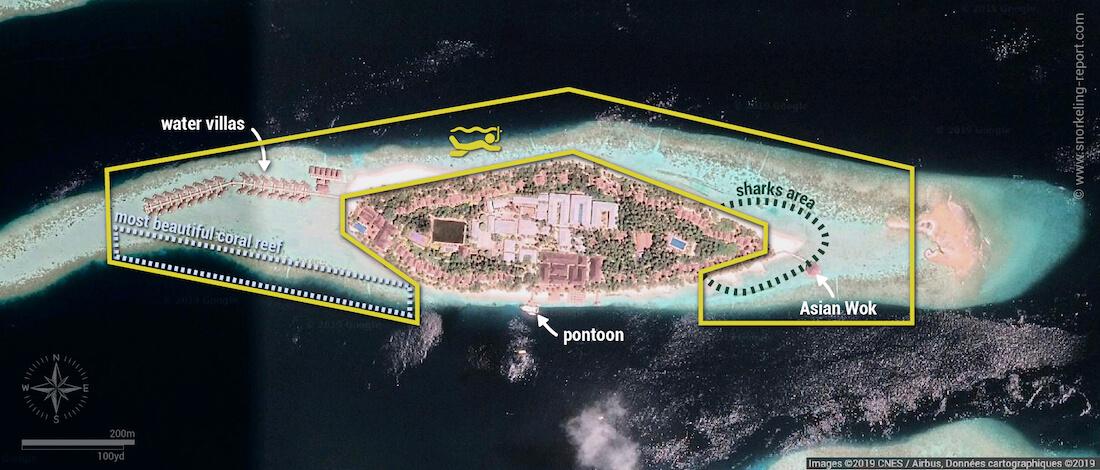 Vilamendhoo snorkeling map, Maldives