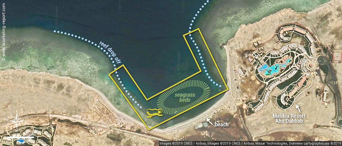 Abu Dabbab snorkeling map