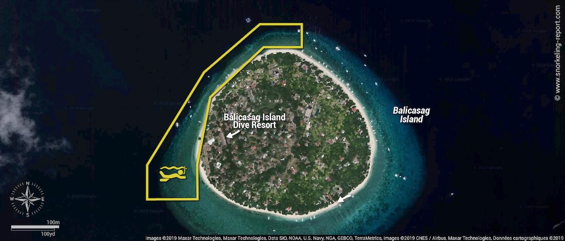 Balicasag island snorkeling map