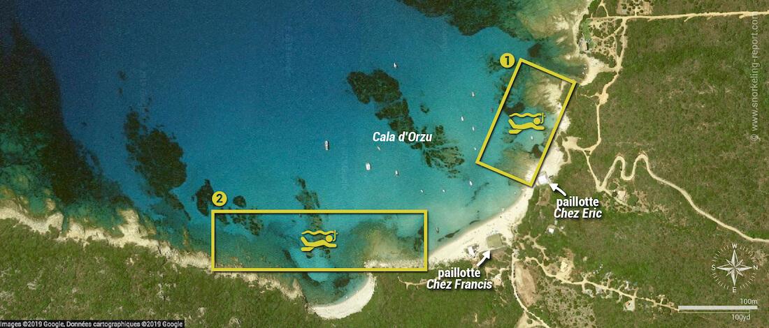 Carte snorkeling à Cala d'Orzu