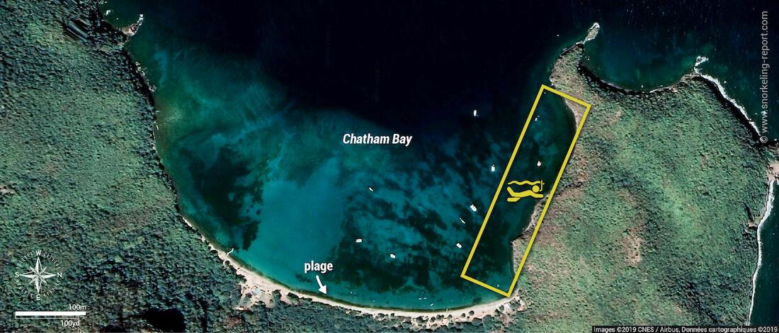 Carte snorkeling à Chatham Bay