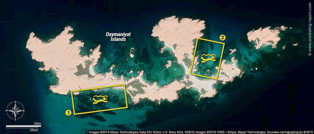 Carte snorkeling aux îles Daymaniyat