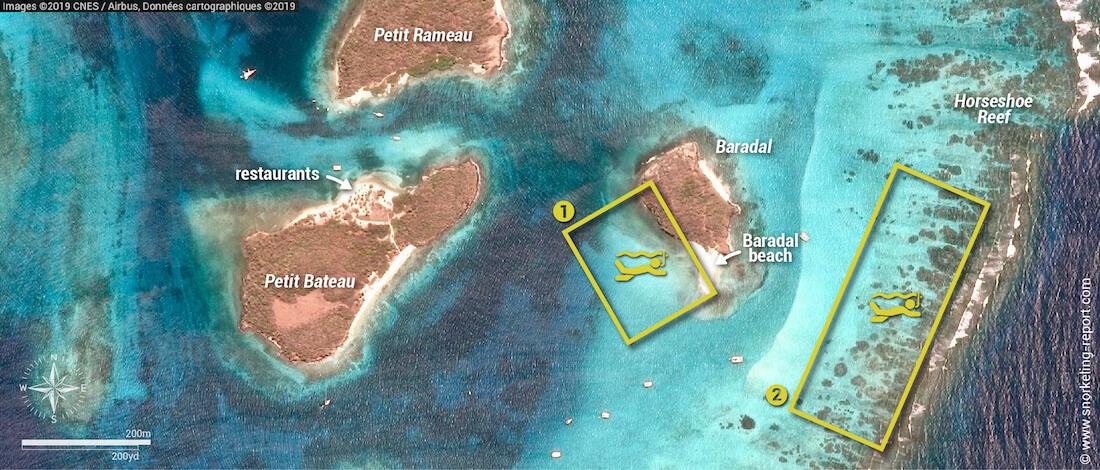 Carte snorkeling aux Tobago Cays