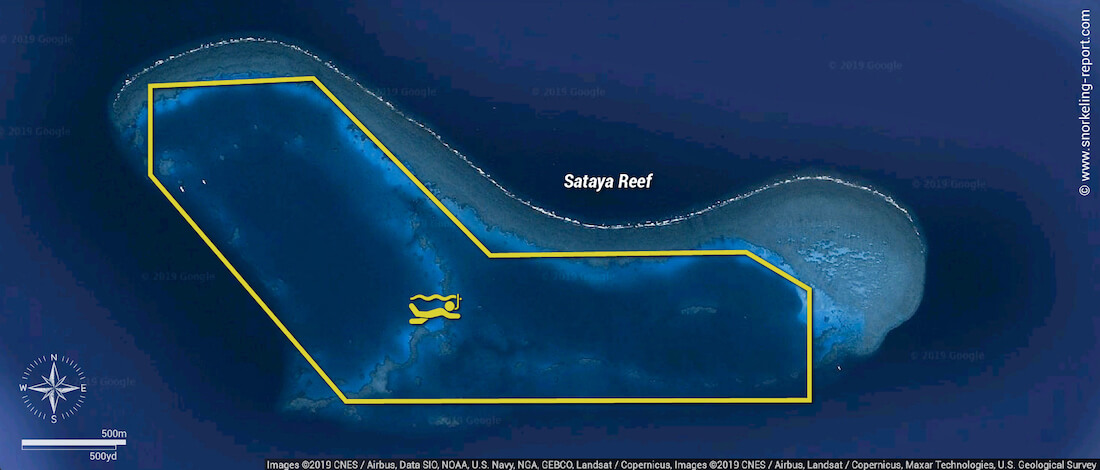 Sataya Reef - Dolphin House snorkeling map