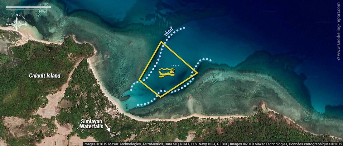 Carte snorkeling avec les dugongs à Calauit