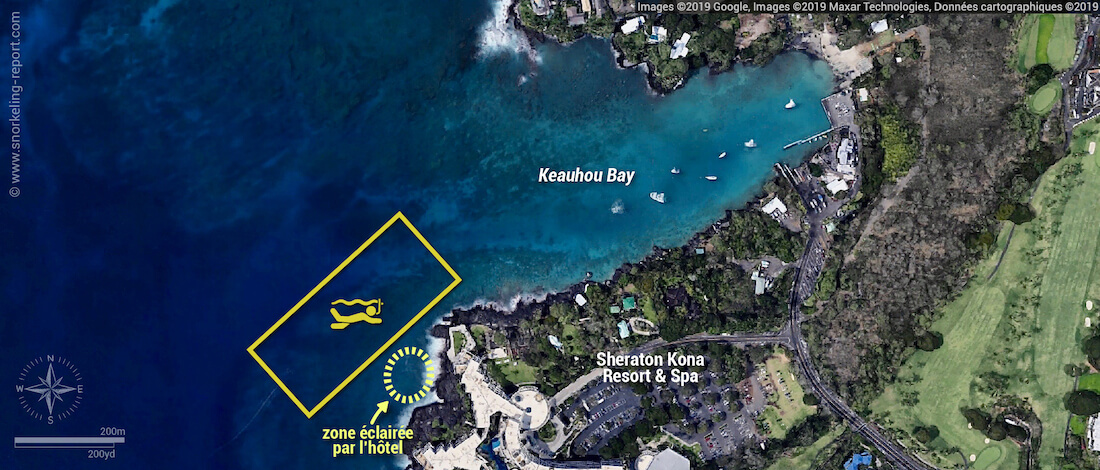 Carte snorkeling Keauhou Bay