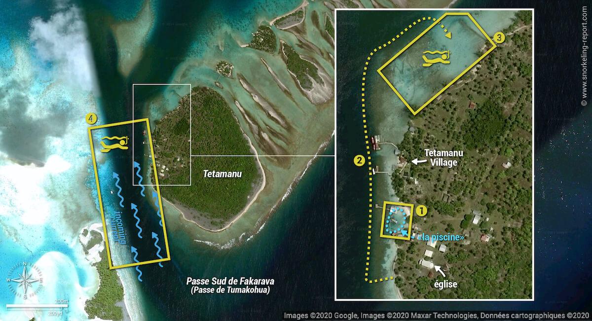 Carte snorkeling dans la Passe Sud de Fakarava et à Tetamanu, Fakarava