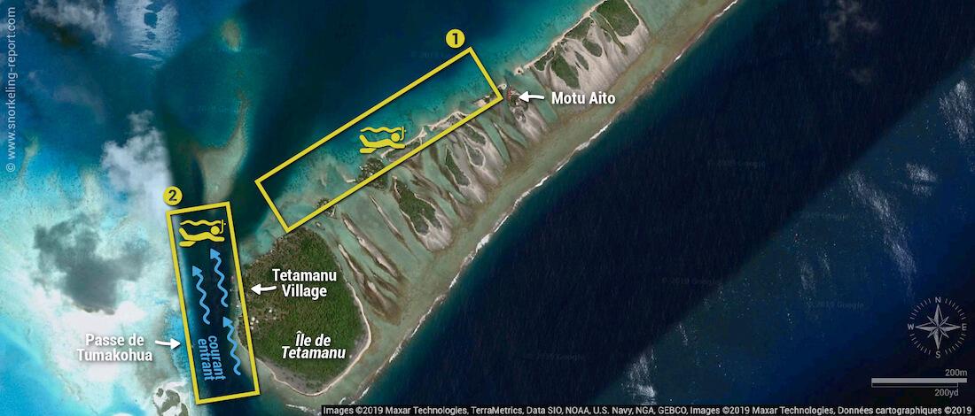 Carte snorkeling à Tetamanu, Fakarava