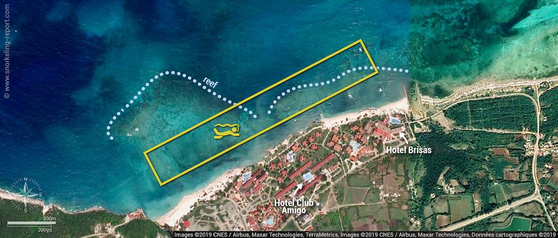 Guardalavaca beach snorkeling map