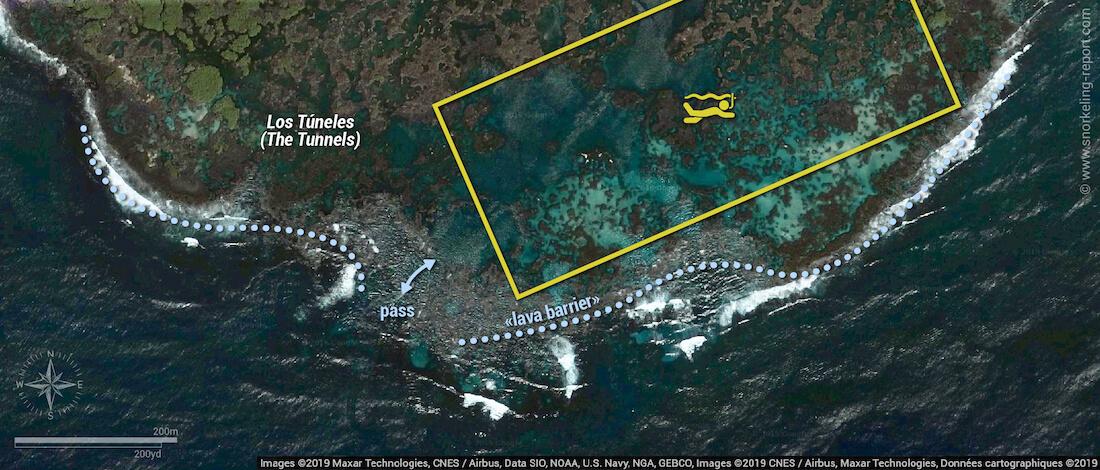 Los Tuneles snorkeling map, Isabela Island