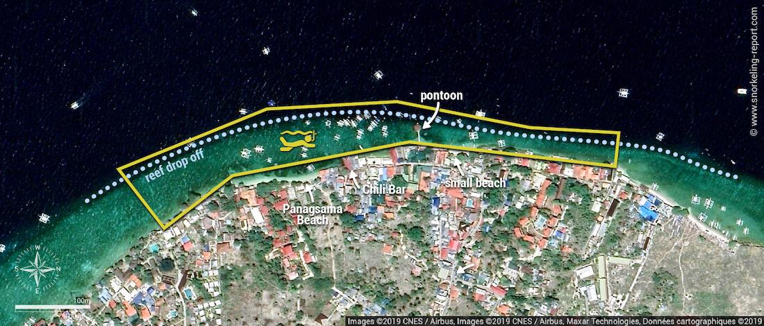 Panagsama Beach Moalboal snorkeling map