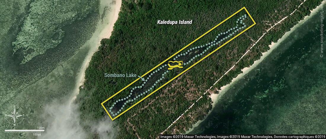 Sombano Lake snorkeling map, Wakatobi