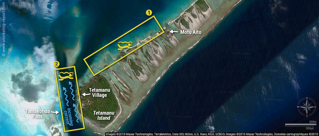 Tetamanu snorkeling map, Fakarava