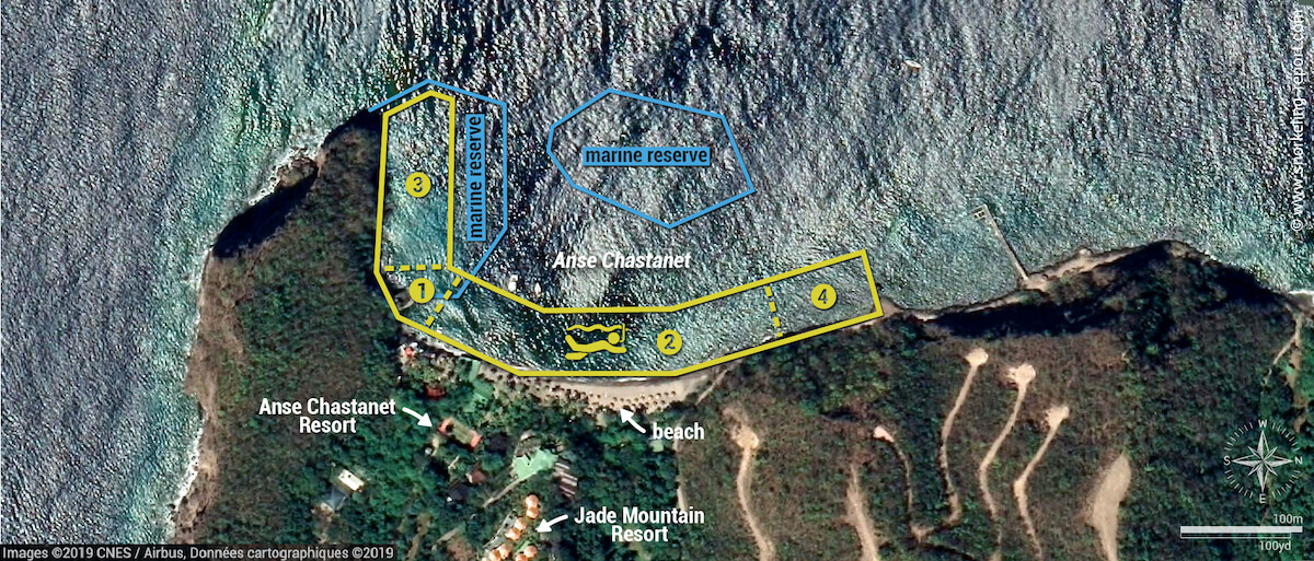 Anse Chastanet snorkeling map, St Lucia