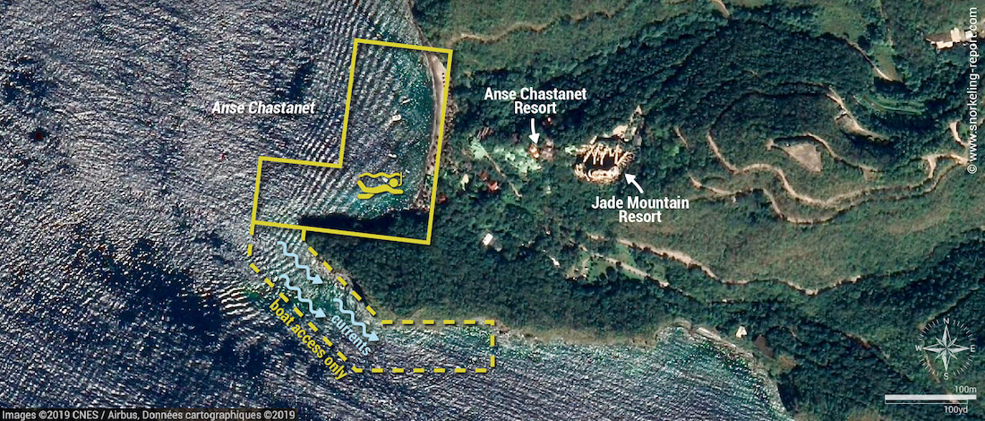 Anse Chastenet Beach snorkeling map