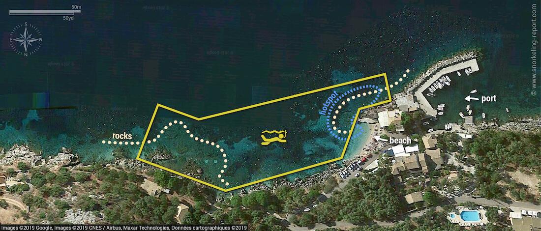 Nissaki snorkeling map, Corfu