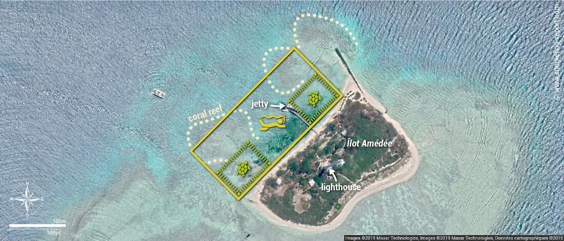 Amedee island snorkeling map