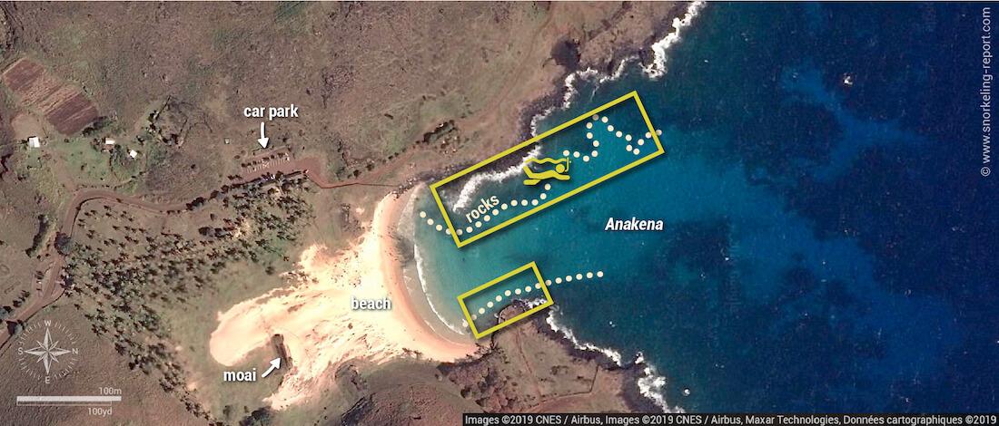 Anakena Beach snorkeling map, Easter Island