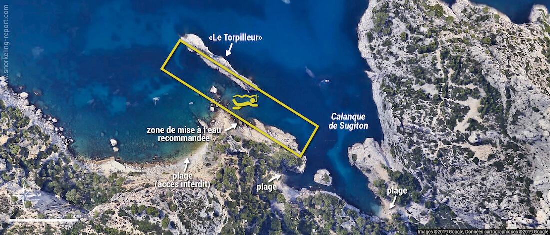 Carte snorkeling dans la Calanque de Sugiton, Marseille
