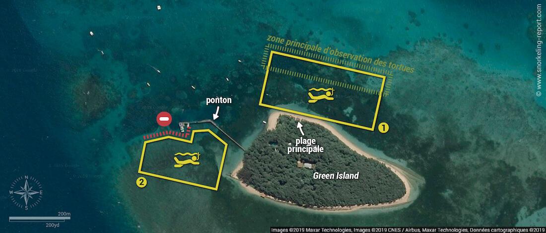 Carte snorkeling à Green Island