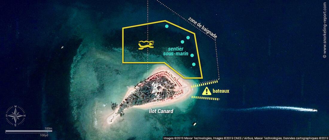 Carte snorkeling sentier sous-marin de l'Îlot Canard, Nouméa