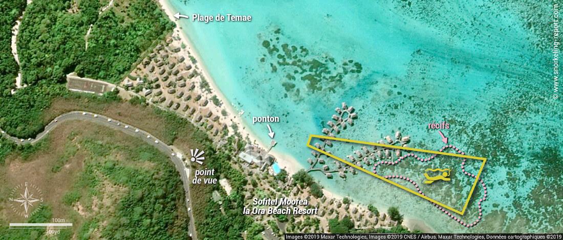 Carte snorkeling dans le lagon du Sofitel Moorea