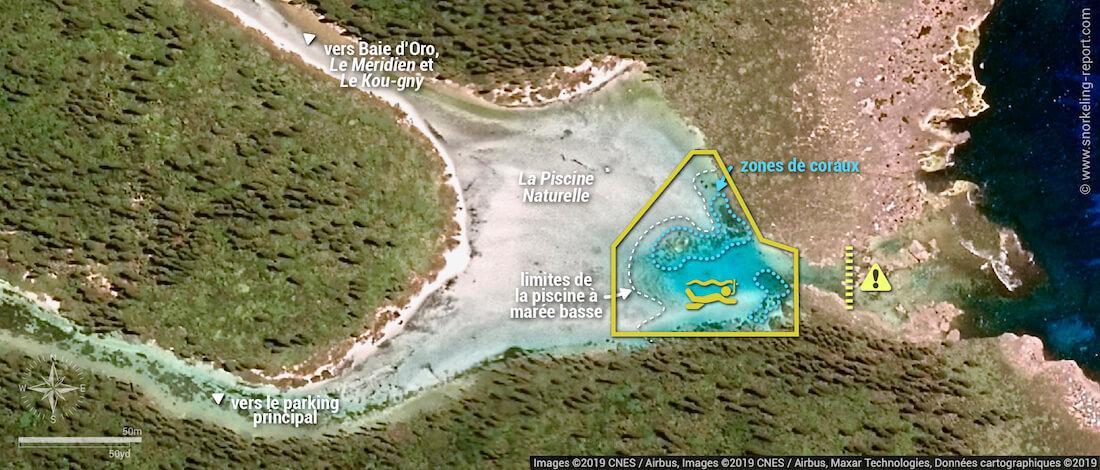 Carte snorkeling dans la piscine naturelle de l'île des Pins