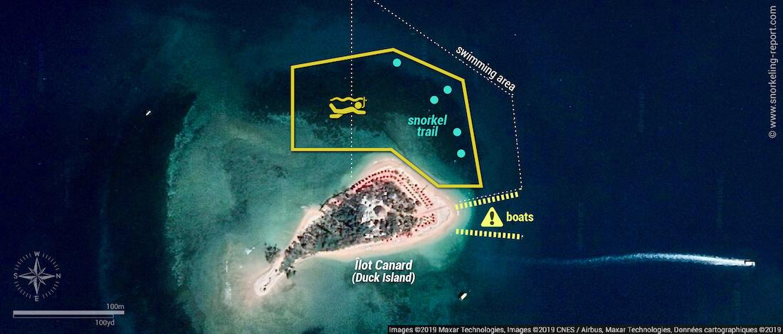 Duck Island snorkeling map, Noumea
