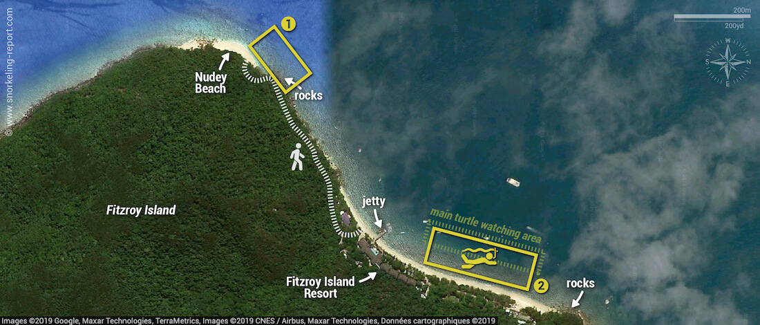 Fitzroy Island snorkeling map
