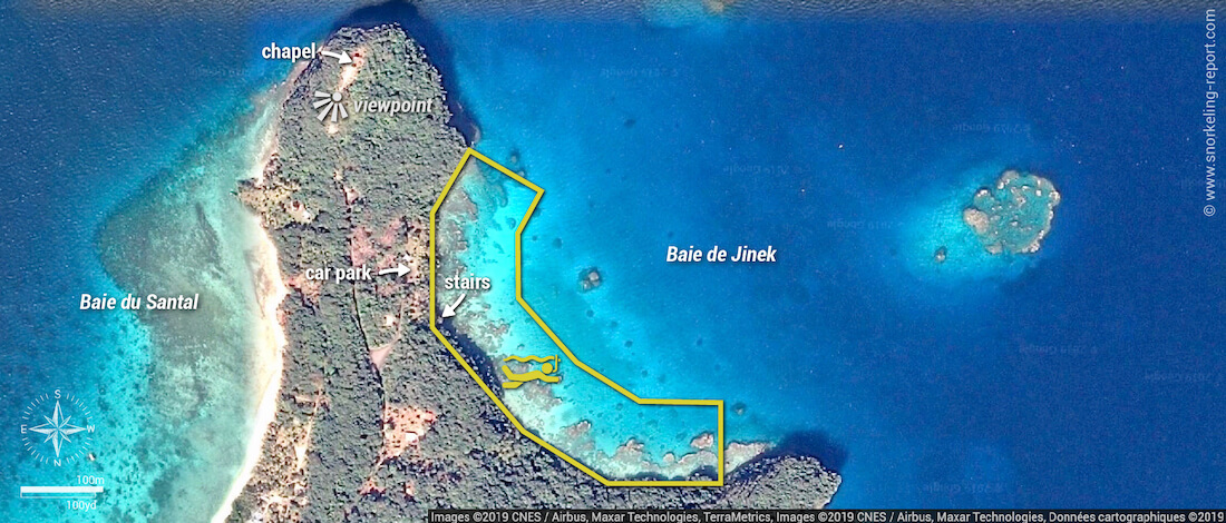 Jinek Bay snorkeling map, Lifou