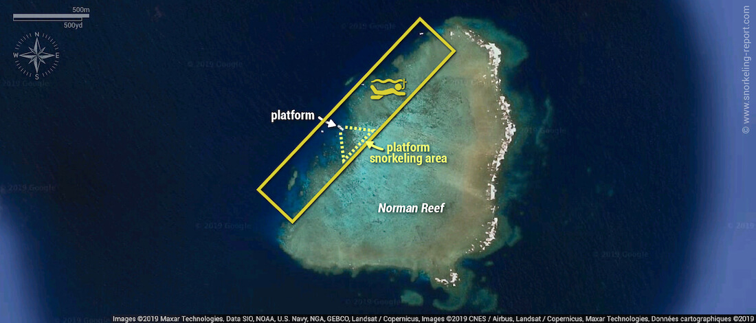 Norman Reef snorkeling map