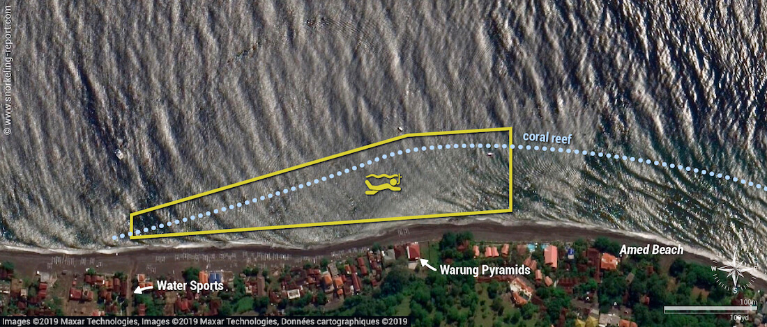 Amed Pyramids snorkeling map