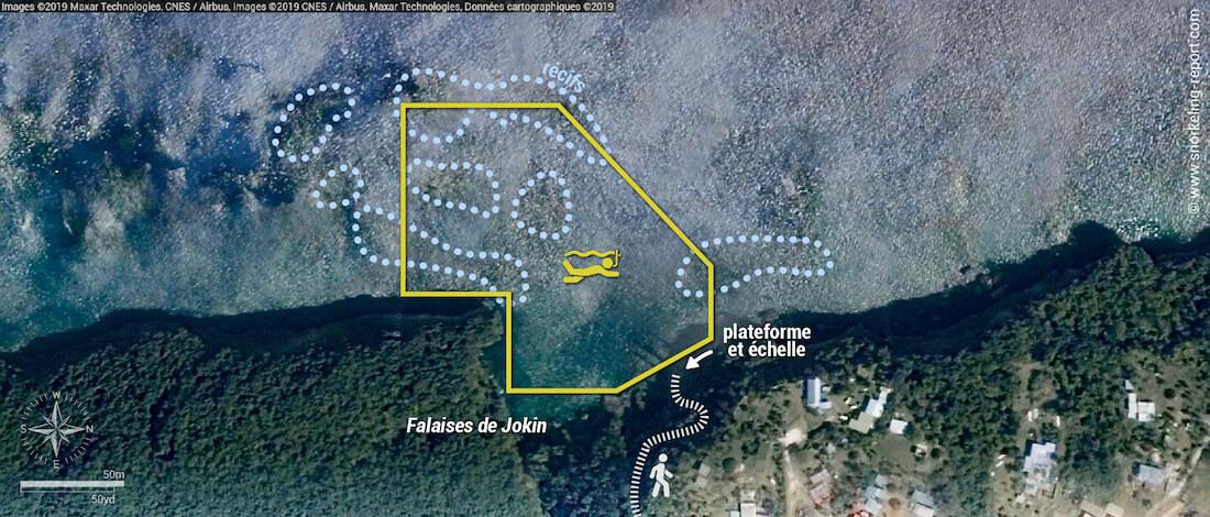 Carte snorkeling aux Falaises de Jokin