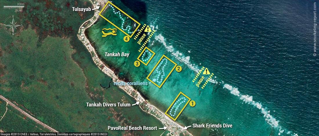 Carte snorkeling à Tankah Bay