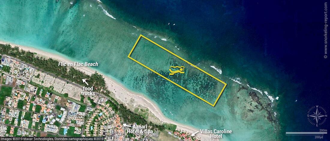 Flic en Flac snorkeling map