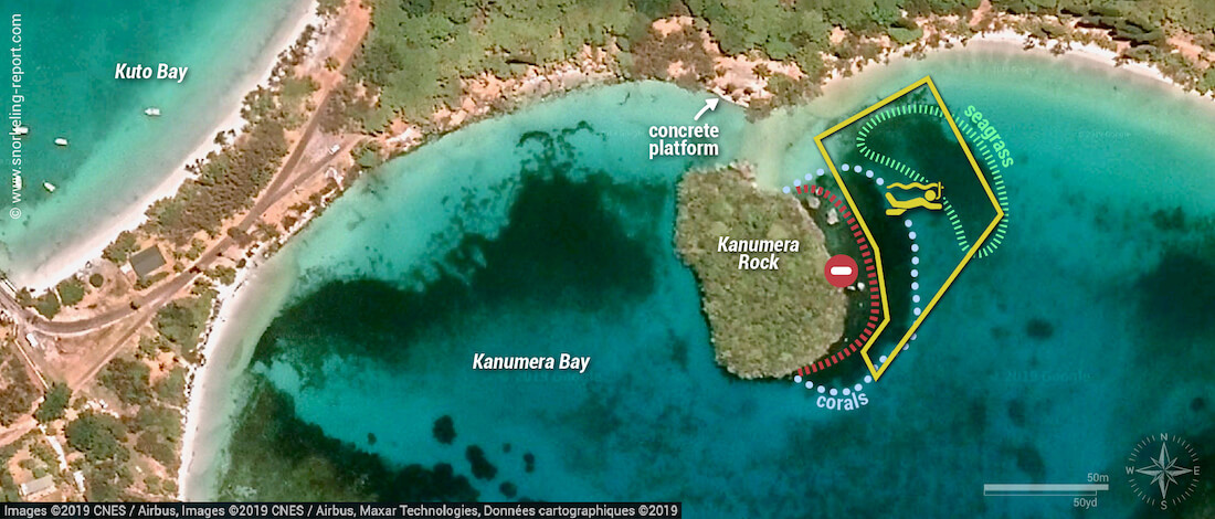 Kanumera Bay snorkeling map