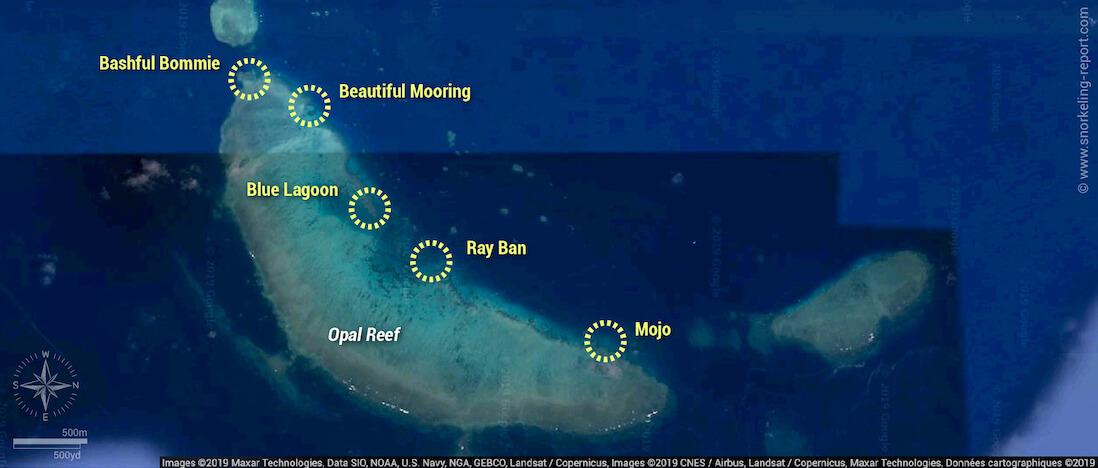 Opal Reef snorkeling map