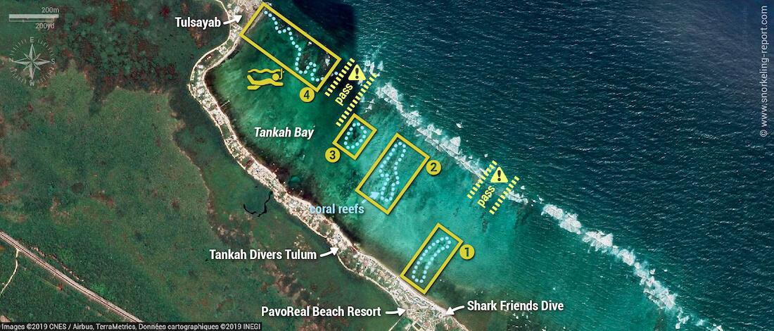 Tankah Bay snorkeling map