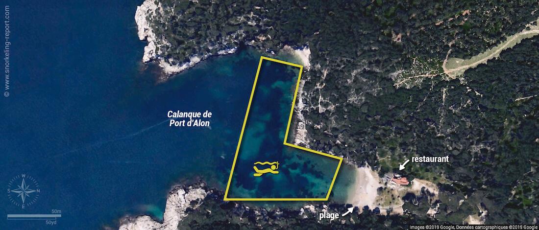 Carte snorkeling à la Calanque de Port d'Alon