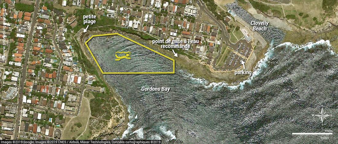 Carte snorkeling à Gordons Bay, Cogee