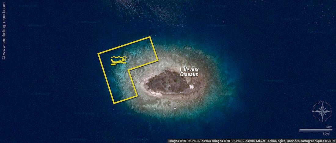 Carte snorkeling à l'Ile aux Oiseaux, Fakarava