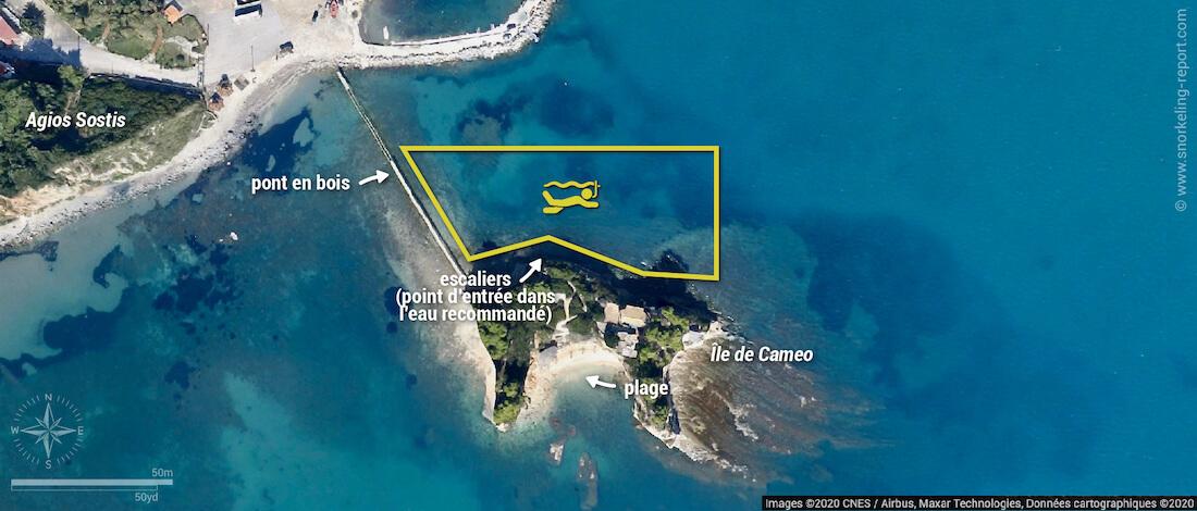 Carte snorkeling à l'Île de Cameo, Zante