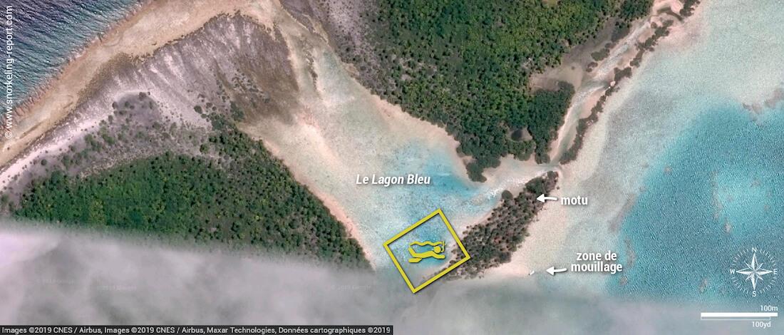 Carte snorkeling au Lagon Bleu de Fakarava