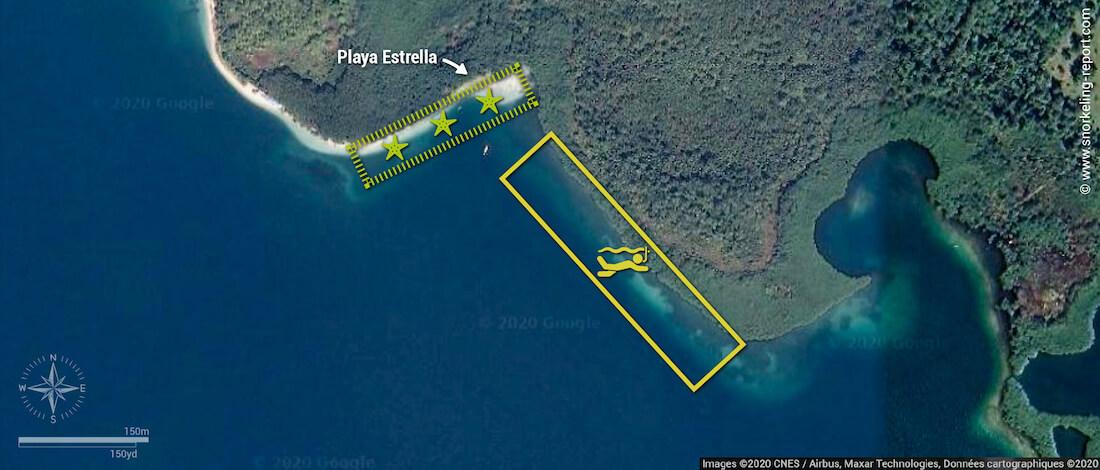 Carte snorkeling à Playa Estrella
