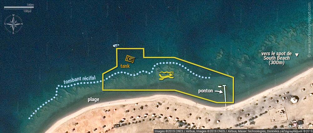 Carte snorkeling à Seven Sisters et au Tank, Parc Marin d'Aqaba