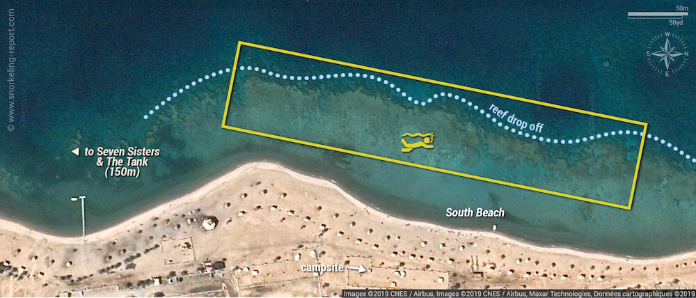 South Beach Aqaba Marine Park snorkeling map