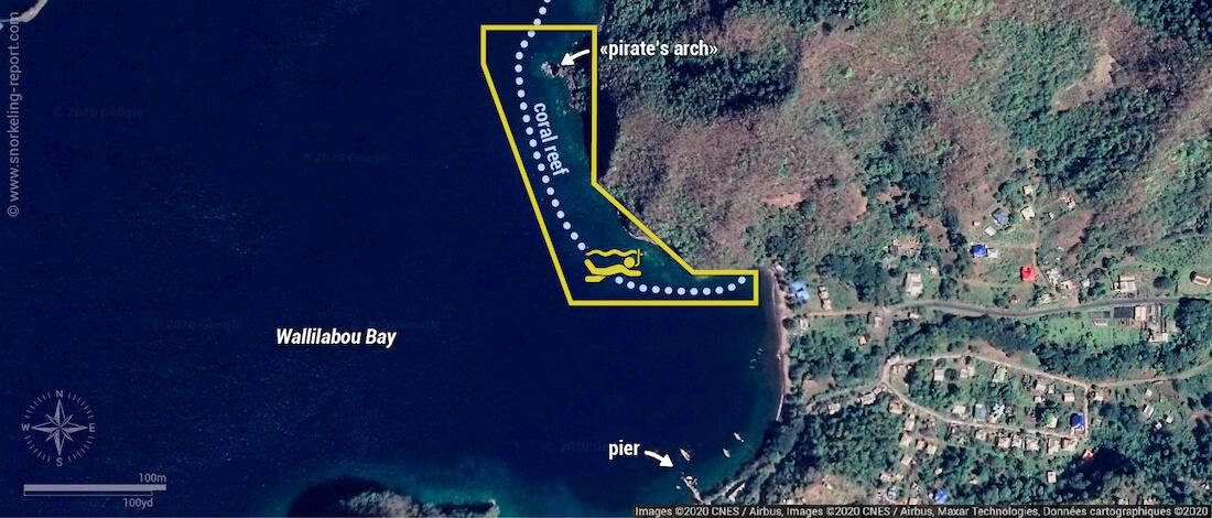 Wallilabou Bay snorkeling map